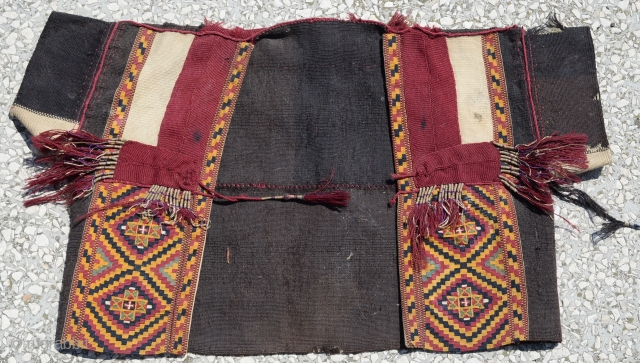 End of 19th Century,Turkish Anatolian ceremonial vest , Silk + wool flat weave and metallic + silk tassels. All natural colors size:73x43cm