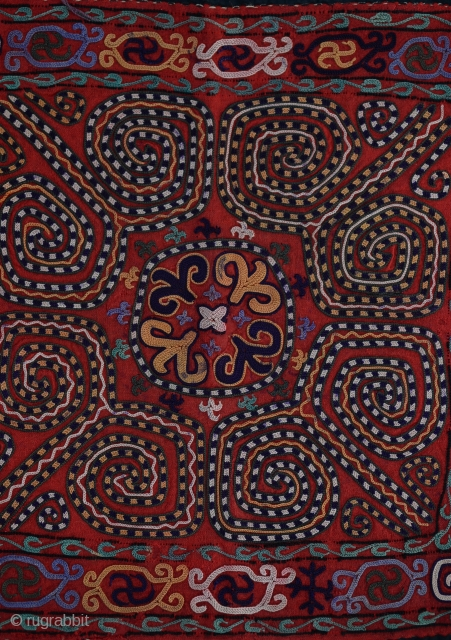 late19th Century a very unique and colourful antique Kirghiz silk suzani embroidered squared wall hanging.size:43x45 cm