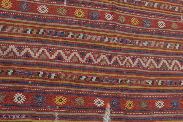 """Denizli (çal) kilim in West Anatolian fragment rug Circa:1900 Size:235 x 130 Cm 7'9""""x 4'3"""""""