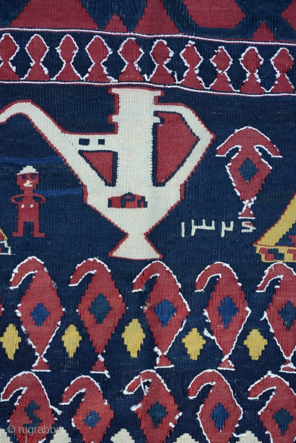 Caucasian Karabag main kilim with a date writing 1324 That comes to 115 years old wool on wool-all natural dyes