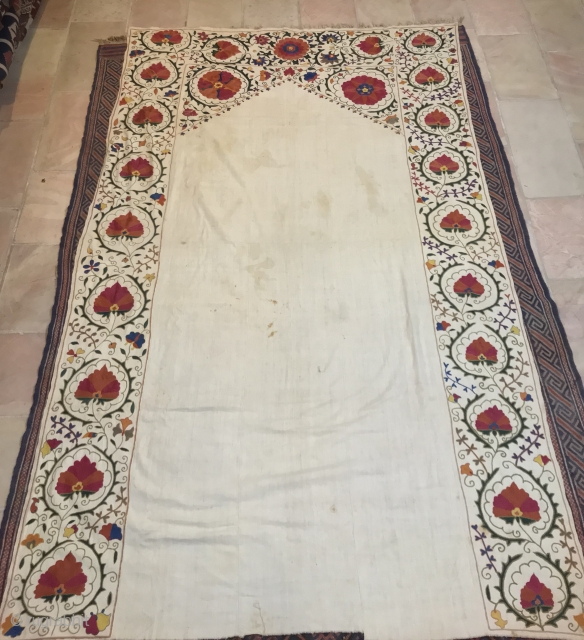 Suzani, central asia , natural silk on hand spun and woven cotton.