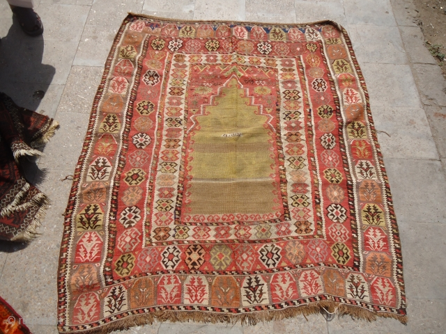 """Dated Anatolian Prayer Kilim with good colors and age,fine weave.beautiful design and pattern.Size 5'3""""*4'7"""".Dated in the middle. E.mail for more info and pics."""
