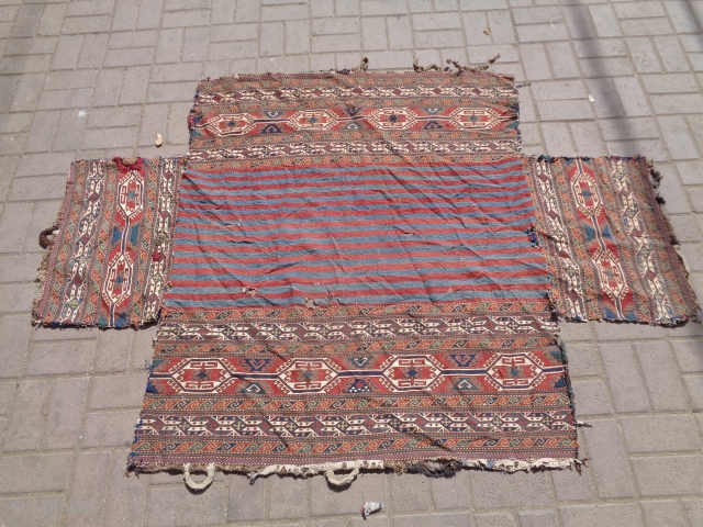 Very finely woven Shahsavan Soumac Mafrash with all great colors good design and very fine weave,As found.E.mail for more info and pics.