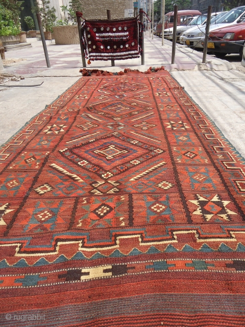 Uzbek Mashkri Kilim with nice star motif pattern,and a donkey on it. around 1900, all wool with natural colours,Size 12&#039;6&quot;*4&#039;8&quot;.E.mail for more info.          