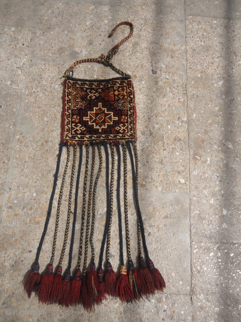 Piled Qashqai Chanteh with original Kilim backing and tassels, some synthetic colors and beautiful design.Fine weave.E.mail for more info.