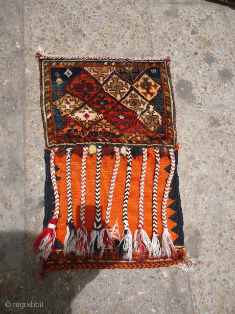 Piled Qashqai Chanteh with original Kilim backing and tassels,beautiful design.Fine weave.E.mail for more info.