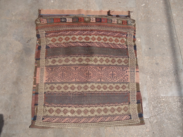 "Baluch Grain Bag with nice colors and design,fine weave and original kilim backing.Size 2'10""*2'5"".E.mail for more info and pics."