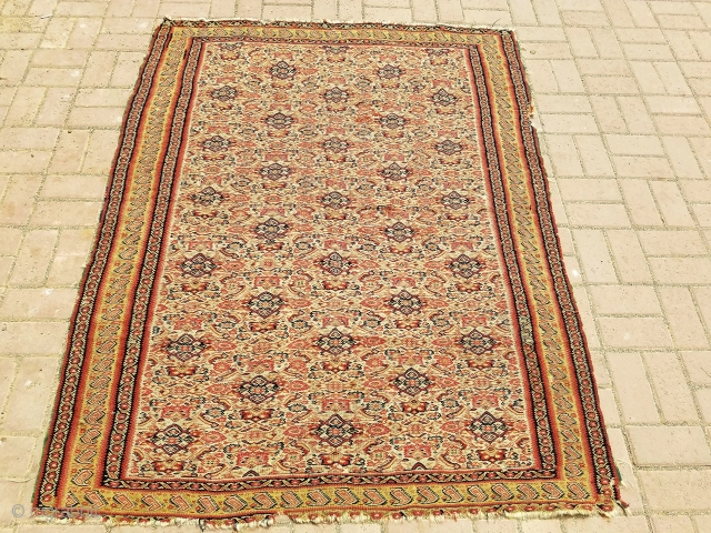 """Senneh Kilim with wool threads and wefts,all 100 % wool, good design and colors,beautiful yellow Paiseley border,fine weave.Size 5'11""""*4'7"""".E.mail for more info and pics."""