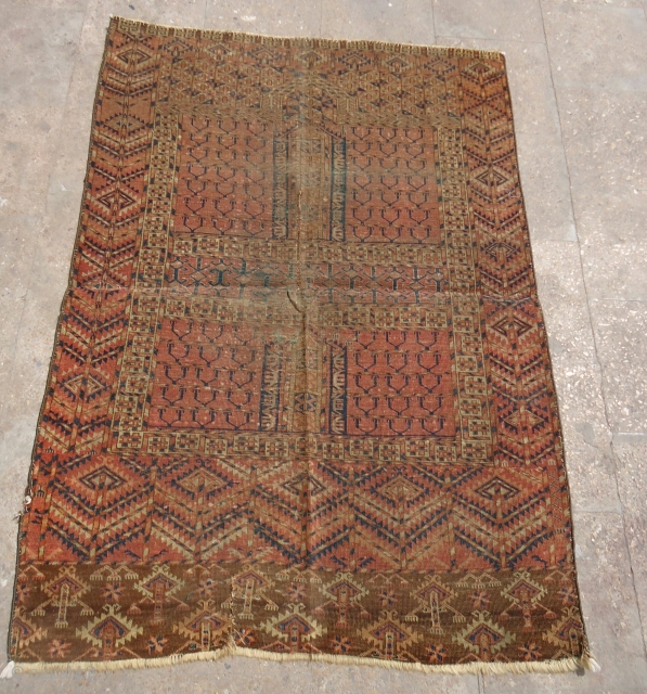 "Turkmen Rug with good colors and as found condition.Fine weave and good colors.Size 4'8*3'4"".E.mail for more info and pics."