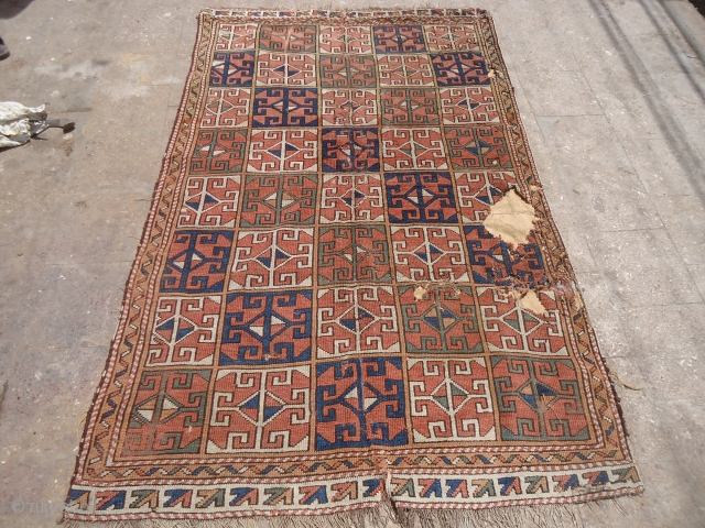 Old west Anatolian rug fragment,with good colors and design,as found.E.mail for more info and pics.