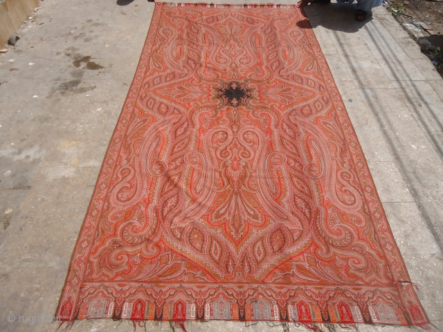 Large Kashmiri shawl with beautiful design and colors.E.mail for more info and pics.
