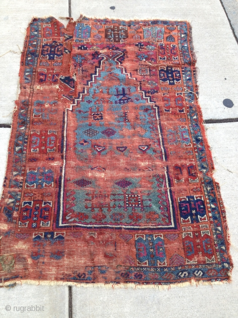 Hello everyone this week I have a beauty for your pleasure. This old Anatolian Prayer rug is very pleasing even though the condition, well... pictures speak for themselves! Please if you have  ...