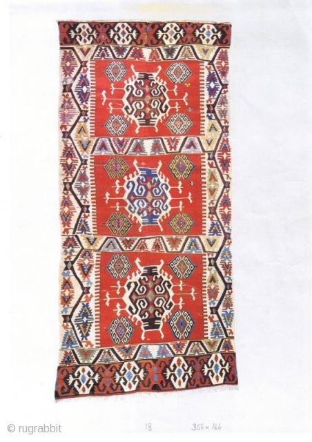 westanatolian kilim ''mid'' 19th c. publ. in YAYLA 1993,  pl.18  356 x 166 cm  perfect condition