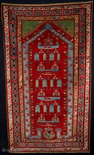 ANTIQUE CENTRAL ANATOLIAN KIRSEHIR PRAYER RUG, UNUSUAL PICTORIAL DESIGN CIRCA 1900/20