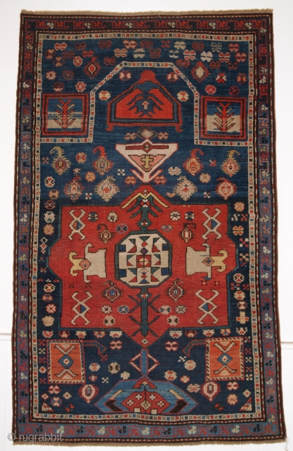 ANTIQUE CAUCASIAN PRAYER RUG, KARABAGH REGION OF SCARCE DESIGN, LATE 19TH CENTURY.