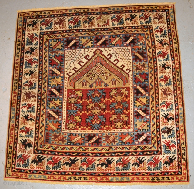 Antique Turkish Kozak village prayer rug of small size.