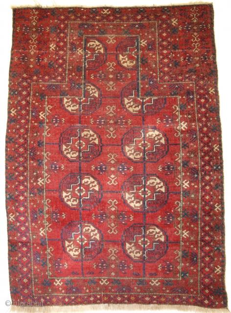 Sarakh Baluch prayer rug of scarce form. Size: 126 x 86cm. www.knightsantiques.co.uk   D-0429.