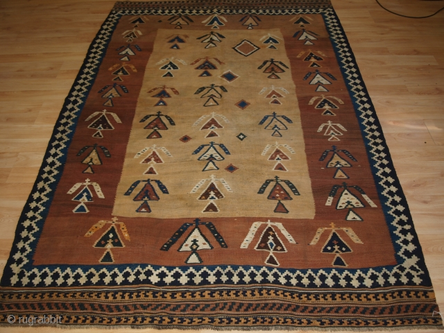 Unusual Qashqai Kilim, Size: 236 x 158cm. www.knightsantiques.co.uk