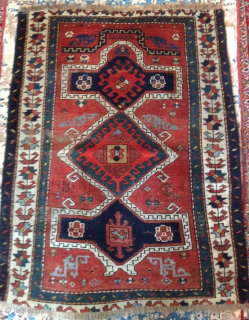 Kazak Prayer rug with 'floating' prayer arch. Un-touched suitable for restoration. Recently hand washed.