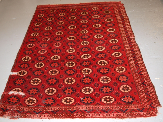 Ersari Turkmen main carpet fragment with stars. Size: 6ft 9in x 4ft 9in (206 x 145cm). 