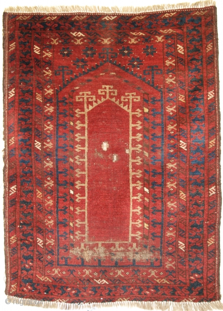 Kizil Ayak Turkmen prayer rug of scarce design. Size: 111x85cm. 