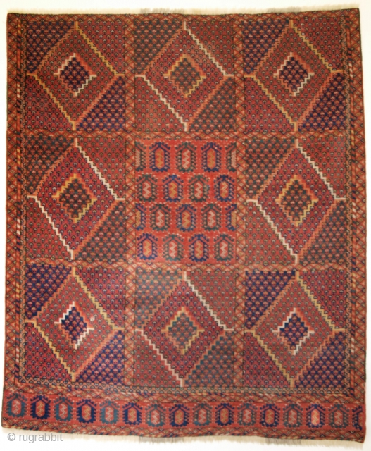 Small Beshir Turkmen rug, losses to sides and ends, superb colours. Size: 127 x 118cm.