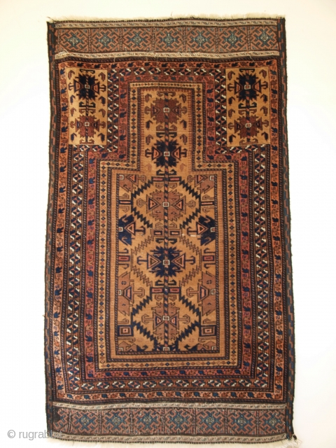 Baluch prayer rug, good end panels. Size:139 x 79cm.
