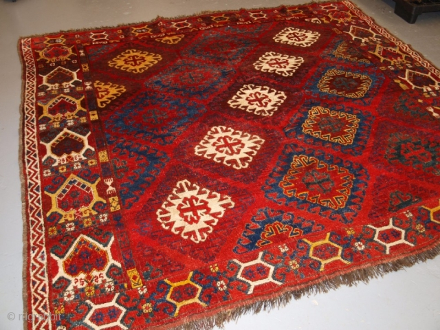 ***SOLD***VERY RARE SMALL MAIN CARPET, CENTRAL ASIAN KIRGHYZ OR TURKMEN, MID 19TH CENTURY OR EARLIER.