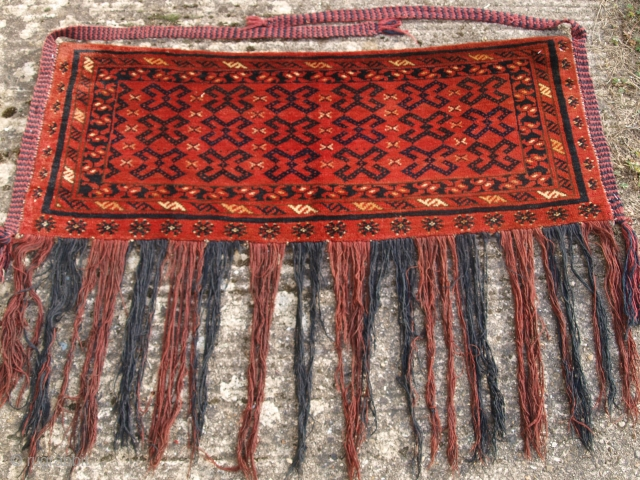 Antique Ersari Turkmen torba with interesting design often found on flat woven torba..  Late 19th century.  Size: 3ft 11in x 1ft 7in (120 x 47cm)  www.knightsantiques.co.uk   A good Ersari torba with excellent colour and superb  ...