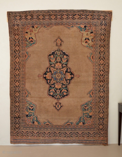 """Beautiful camel field Ziegler Mahal with central medallion and gorgeous colors. , size 5'11"""" x 7'8"""" very fine weave."""