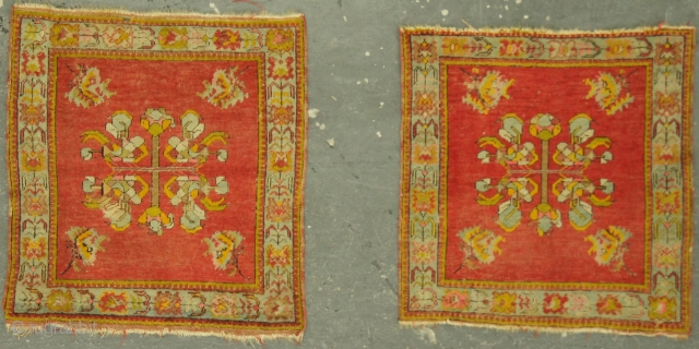 Pair of Turkish rugs, possible Ushak, 19th c. 2½ x 2½ ft (75 x 75 cm), areas of oxidized brown.