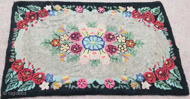 Rag rug - floral, c. 1900. 2 x 4 ft (60 x 120 cm), good condition.  Rag rugs were made for home use by immigrants to America (mostly East and Midwest) out of  ...