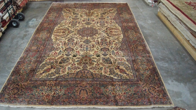 Persian Lavar Kirman, c. 1920. 10 x 15 ft (300 x 450 cm), mint condition.