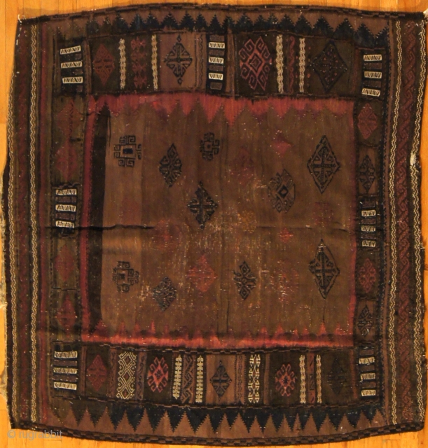 Persian Baluch, c. 1900. 4 x 4 ft (120 x 120 cm), excellent condition.