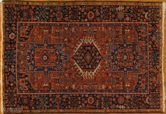 Persian Karadja, c. 1910. 5 x 6 ft (150 x 180 cm), fair condition.