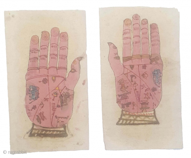 Tantrik Path or Patakas, From Gujarat India. India. Inscribed with Hand  with Mantras,these works were painted entirely by the Tantriks priests(Sadhakas)for the personal worship and for attaining spiritual powers(Siddhis),Made on Paper,  ...
