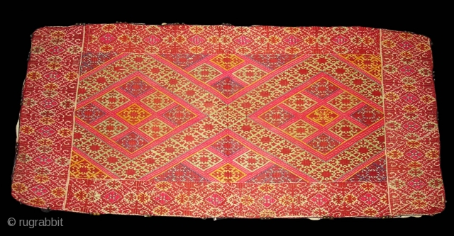 Pillow-Cover,Swat Valley(Pakistan). India.Cotton embroidered with floss silk.with woolen Braiding and Tassels.C.1900.Its size is 47cmx97cm(DSC02825 New).