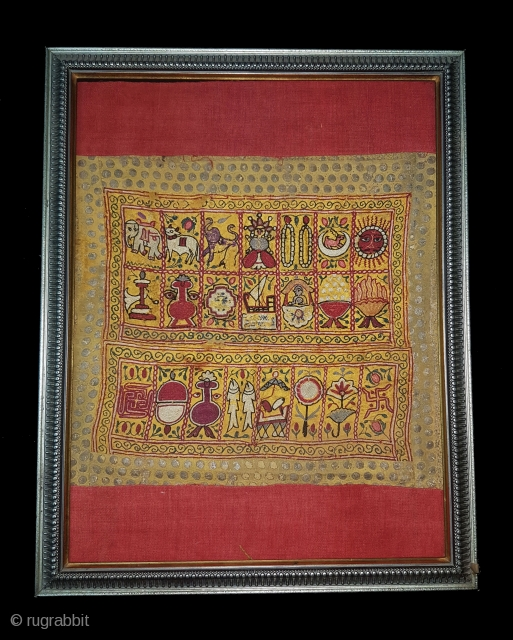 Sutra Book Cover An Jain Mochi Bharat Embroidery From Kutch, Gujarat. India.Showing When Mahavira was born his mother Trishala, During her pregnancy,Mother was believed to have had a number of auspicious dreams,  ...