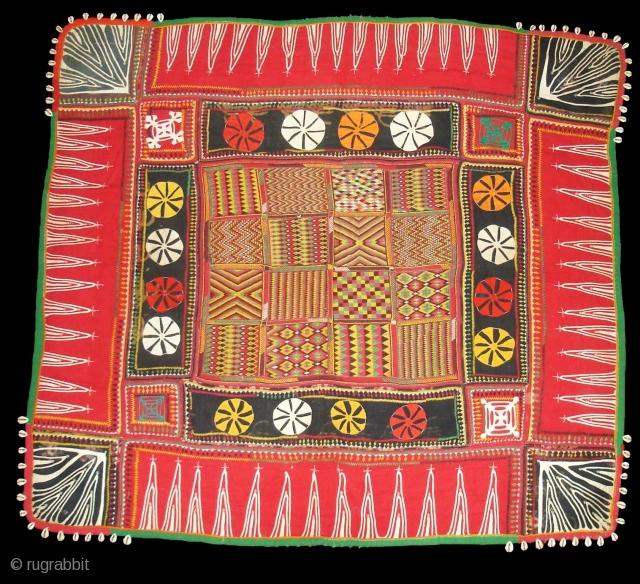 Ceremonial Banjara Baby Jolna From Madhiya Pradesh. India. Known As Jolna. Finely Embroidered And Applied work Banjara Jolna. c.1900. Its Size is 88cmX95cm(DSC04726 New).