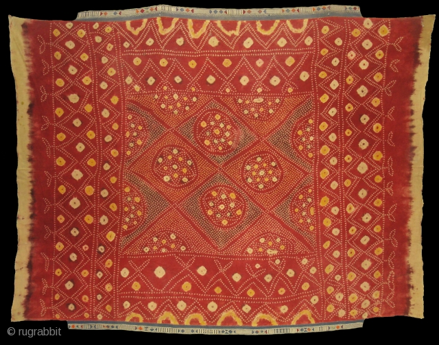 Single Bandh Tie and Dye Odhani From Shekhawati District of Rajasthan. India.Its Very rare Single Bandh Tie and Dye Odhani. Natural Colours On the Khadi Cotton.C.1900.Its size is 145CmX200cm(DSC04960 New).