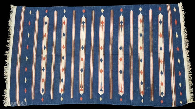 Indigo Blue,Jail Dhurrie(Cotton)with Terracotta And white 'Double-Minaret' striped Dhurrie with feathered diamonds,From Ajmer, Rajasthan. India.C.1900.Its size is 118cmX212cm. Condition is very good(20171204_122115 New).