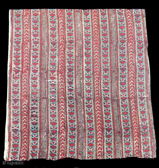 Early Daabu Block Print Yardage, Natural Dyes on cotton, From Balotra, Rajasthan. India.C.1900.Its size is 73cmX306cm.(152912).