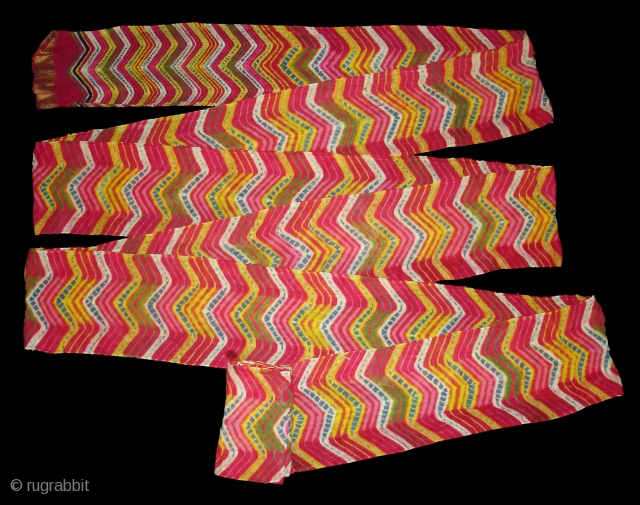 Multi-Colour,Lahariya Tie and Dye Mothara Turban From Sekhawati District of Rajasthan. India.Its size is near by 15 to 18 miters(DSC06334 New).