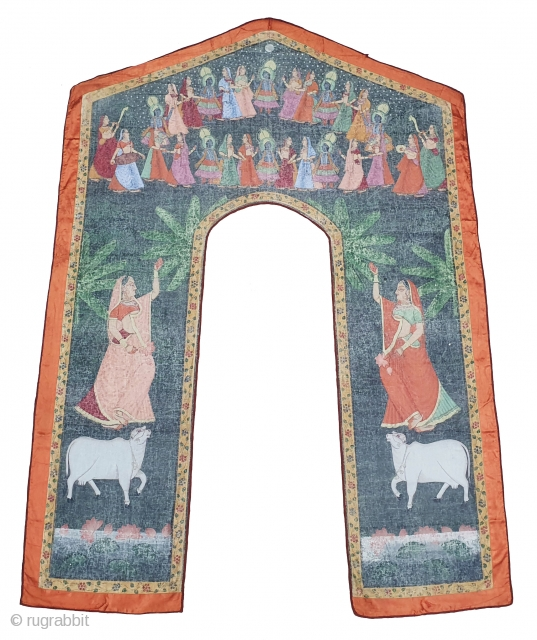 Pichwai of Shrinath in the Maha Raas Lila From Nathdwara Rajasthan .India. C.1900. Painted on the Cotton, its size is 49cmX49cmX172cm. Its Condition is very good.(20200627_135841).