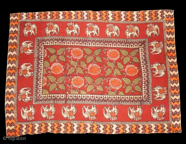 Saudagiri Trade Textiles of Kutch Gujarat, Block Printed On Cotton Khadi From Kutch Gujarat, India.C.1900.Its size is 66cmx925cm(DSC05689 New).