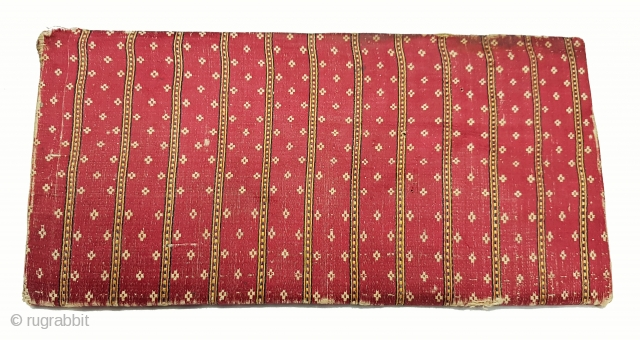 Mashru Book Cover with Manchester ticket inside,silk warps,cotton wefts,warp ikat,satin weave Mashru from Kutch, Gujarat.India.C.1900.Its size is 14cmX28cm. very rare kind of Mashru (174349).