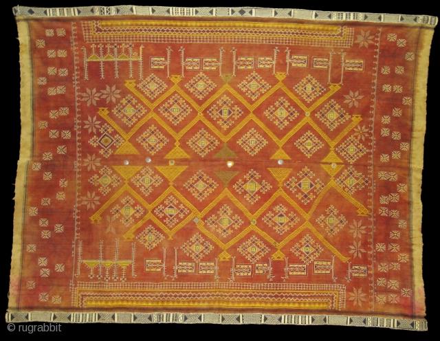 Odhani Bishnoi Shawl From Shekhawati District of Rajasthan, India. Odhani Showing the various Chopat design on cotton Khadder (Village Khadi)cloth with natural colours,This were traditionally used mainly by Bishnoi Group of Shekhawati  ...