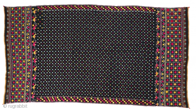 Indigo-Colour(Dark) Phulkari From East(India)Punjab Region of India. India.Silk on Indigo Dyed Hand Spun Cotton ground.C.1900.Its size is 135cmX245cm(DSC03875 New).