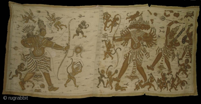 Kalamkari of Ramayana From Coromandel cost. India. Made for Indonesian Market.Its Size is 117cm X245cm.Its made in 3 Parts and some body join together.(DSC00218)