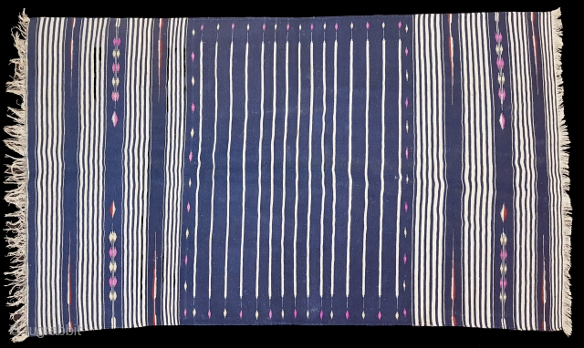 Indigo Blue,Jail Dhurrie(Cotton)Blue-White striped with mahi motif. Bikaner, Rajasthan. India.C.1900.Its size is 115X200cm.Condition is very good(120626 New).